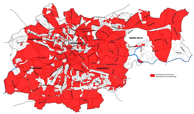 Mapa z planami obowiązującymi